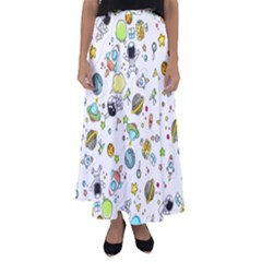 Space Pattern Flared Maxi Skirt