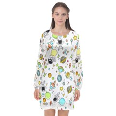 Space Pattern Long Sleeve Chiffon Shift Dress