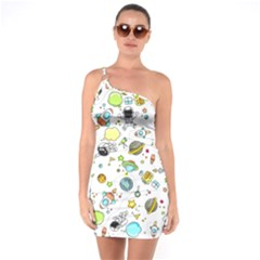 Space Pattern One Soulder Bodycon Dress