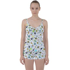 Space Pattern Tie Front Two Piece Tankini