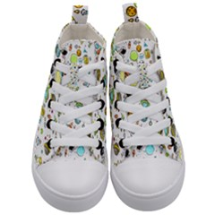 Space Pattern Kid s Mid Top Canvas Sneakers