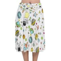 Space Pattern Velvet Flared Midi Skirt