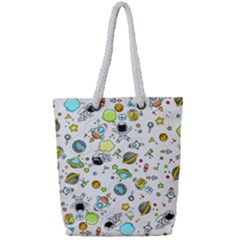 Space Pattern Full Print Rope Handle Tote (small)