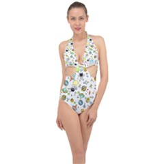 Space Pattern Halter Front Plunge Swimsuit