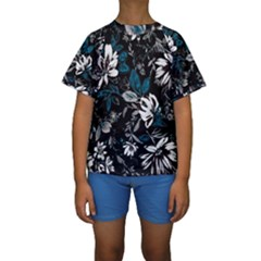 Floral Pattern Kids  Short Sleeve Swimwear