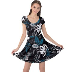 Floral Pattern Cap Sleeve Dress