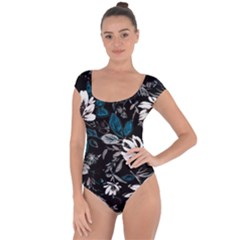 Floral Pattern Short Sleeve Leotard