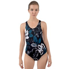 Floral Pattern Cut Out Back One Piece Swimsuit