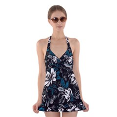 Floral Pattern Halter Dress Swimsuit