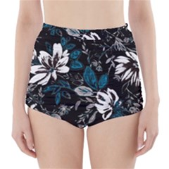 Floral Pattern High Waisted Bikini Bottoms