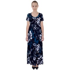 Floral Pattern High Waist Short Sleeve Maxi Dress