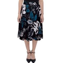 Floral Pattern Folding Skater Skirt