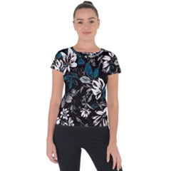 Floral Pattern Short Sleeve Sports Top