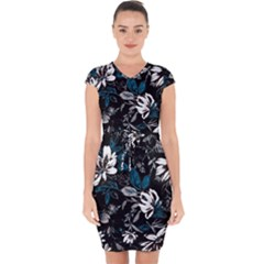 Floral Pattern Capsleeve Drawstring Dress