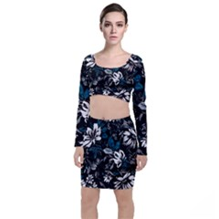 Floral Pattern Long Sleeve Crop Top & Bodycon Skirt Set