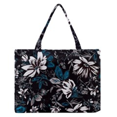 Floral Pattern Zipper Medium Tote Bag