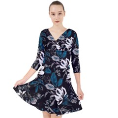 Floral Pattern Quarter Sleeve Front Wrap Dress