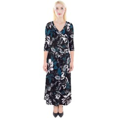Floral Pattern Quarter Sleeve Wrap Maxi Dress