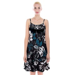 Floral Pattern Spaghetti Strap Velvet Dress
