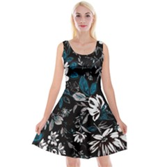 Floral Pattern Reversible Velvet Sleeveless Dress