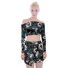 Floral Pattern Off Shoulder Top With Mini Skirt Set
