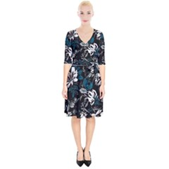 Floral Pattern Wrap Up Cocktail Dress