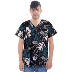 Floral Pattern Men s V Neck Scrub Top