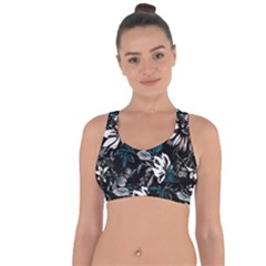Floral Pattern Cross String Back Sports Bra