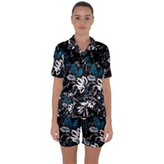 Floral Pattern Satin Short Sleeve Pyjamas Set