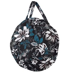 Floral Pattern Giant Round Zipper Tote