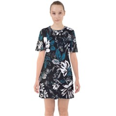 Floral Pattern Sixties Short Sleeve Mini Dress