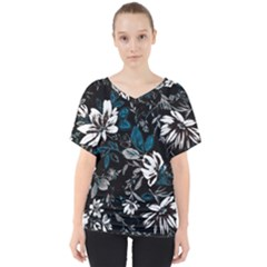 Floral Pattern V Neck Dolman Drape Top