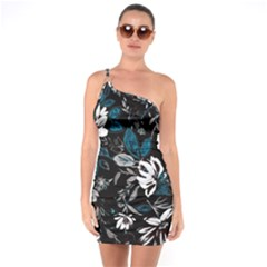 Floral Pattern One Soulder Bodycon Dress