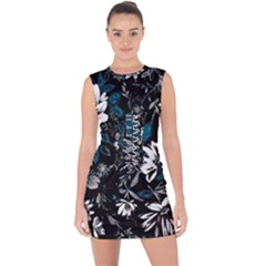 Floral Pattern Lace Up Front Bodycon Dress