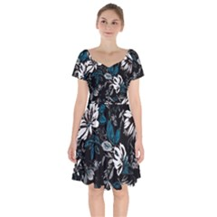 Floral Pattern Short Sleeve Bardot Dress