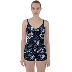 Floral Pattern Tie Front Two Piece Tankini