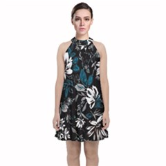 Floral Pattern Velvet Halter Neckline Dress