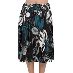 Floral Pattern Velvet Flared Midi Skirt