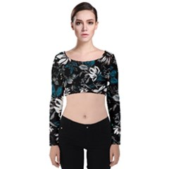 Floral Pattern Velvet Crop Top