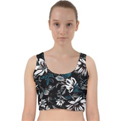 Floral Pattern Velvet Racer Back Crop Top