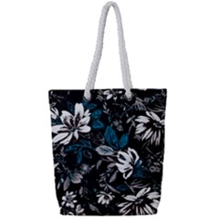 Floral Pattern Full Print Rope Handle Tote (small)