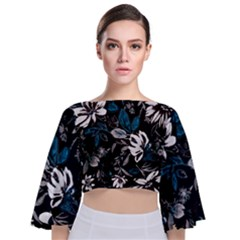 Floral Pattern Tie Back Butterfly Sleeve Chiffon Top