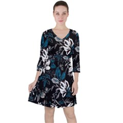 Floral Pattern Ruffle Dress