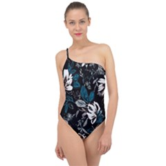 Floral Pattern Classic One Shoulder Swimsuit