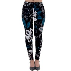 Floral Pattern Lightweight Velour Leggings