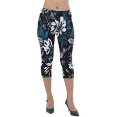 Floral Pattern Lightweight Velour Capri Leggings