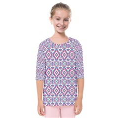 Colorful Folk Pattern Kids  Quarter Sleeve Raglan Tee