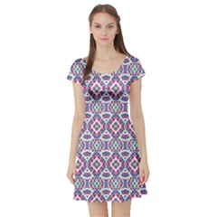 Colorful Folk Pattern Short Sleeve Skater Dress