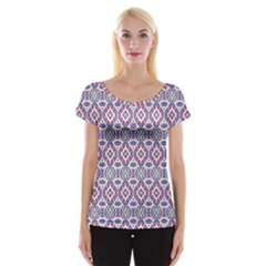 Colorful Folk Pattern Cap Sleeve Tops