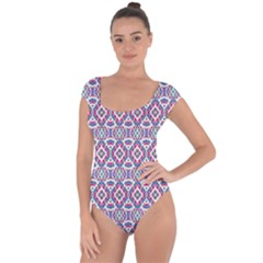 Colorful Folk Pattern Short Sleeve Leotard